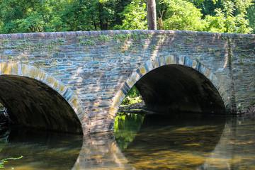 An old bridge above the woodland stream