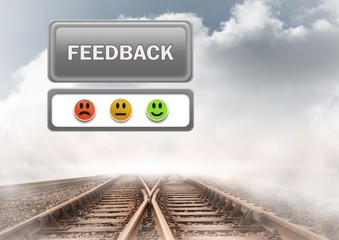 feedback button and smiley satisfaction faces review on train