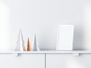 Christmas trees decor with White photo frame Mockup on bureau. 3d rendering