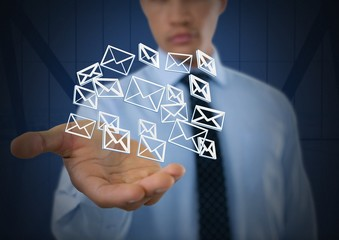 Email message app icons and Businessman with hands palm open and
