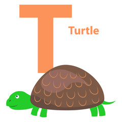 Alphabet Illustration for Letter T with Turtle
