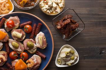 Spanish tapas on table with copyspace