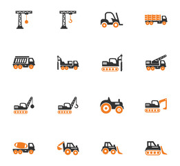 Construction transport icons set
