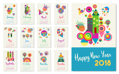 New Year 2018 happy geometric abstract color art calendar