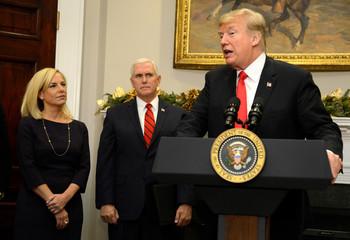 President Trump attends swearing in of DHS Secretary Nielsen