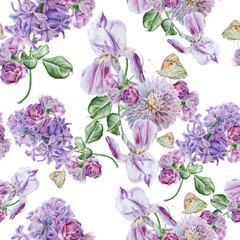 Bright seamless pattern with flowers. Lilac. Iris. Butterfly. Watercolor illustration. Hand drawn.
