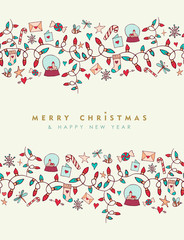 Christmas and new year cute greeting card pattern
