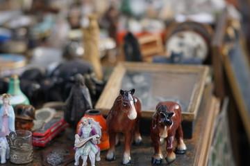 Group of vintage objects in a flea market