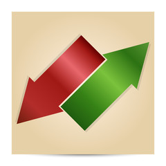 Vector illustration of green and red arrow