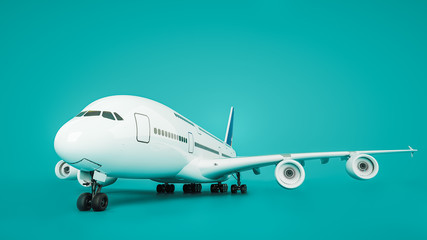Wall Mural - Front of plane. 3d rendering and illustration.