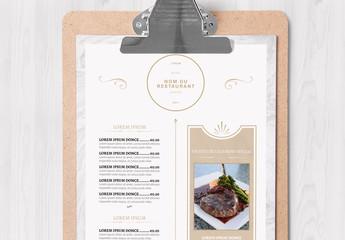Mise en page marbrée de menu de restaurant