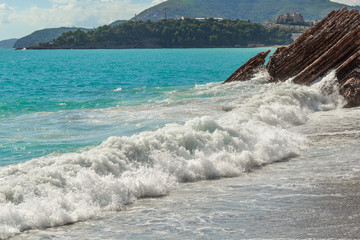 Seascape. Wave and foam. The sea is green. Adriatic Sea