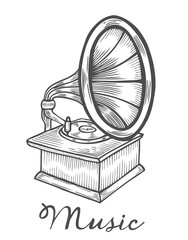 Hand drawn gramophone