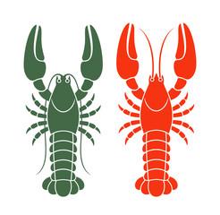 Crayfish set. Isolated crayfish on white background