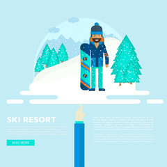 Winter sport background with character and skiing,  snowboarding set equipment