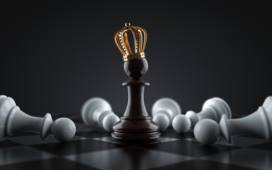 Black King chess piece surrounded by fallen white pawn chess pieces. Pawn to become king. 3d render