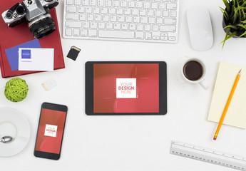 Top view office desk tablet and smartphone mockup scene creator
