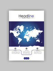 World map banner cover design. Book cover. Journal, conference, annual report design.