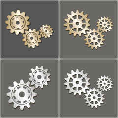 Gears with a shadow. Vector illustration.