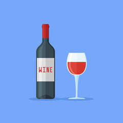 Bottle and glass of red wine isolated on blue background. Flat style vector illustration.