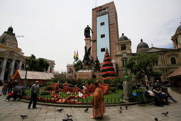 A view of the Murillo square during the Christmas season in La Paz