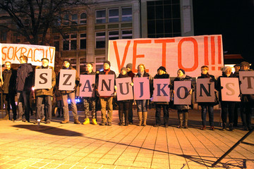 People protest againts Polish lawmakers who approved an overhaul of the judiciary during demonstration in Wrocalw