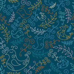 Seamless pattern with blue spring birds and branches
