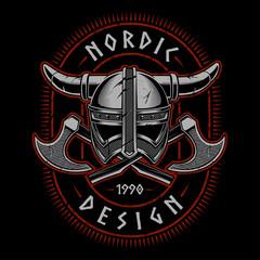 Viking helmet with axes