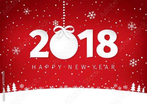 paper art with happy new year 2018 text design circle label with a bow