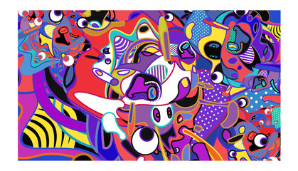 Spoed Foto op Canvas Klassieke abstractie Vector abstract colorful doodle