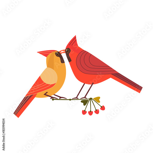 Kissing Birds Icon Two Red Cardinals Female Male In Love Fun