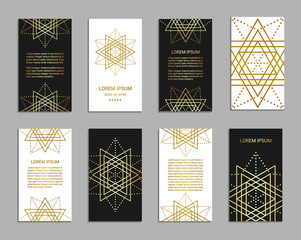 Vintage style black and white flyer set inspired by sacred geometry. Vertical blanks with golden sacral geometric signs. Line art brochure pattern. Clipping masks. Ornamental star design leaflet. EPS