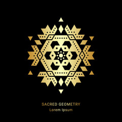 Sacred geometry style symbol. Sacral geometric sign. Metallic golden element. EPS 10 design vector illustration.