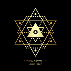 Sacred geometry style symbol. Sacral geometric outline sign. Line art golden element. EPS 10 linear design vector illustration.