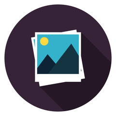 Photos icon. Illustration in flat style. Round icon with long shadow.