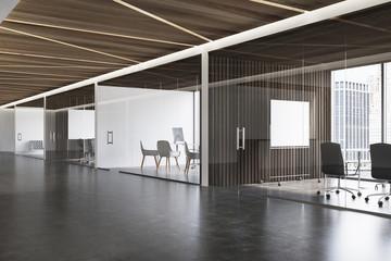 Dark wooden ceiling office lobby, poster