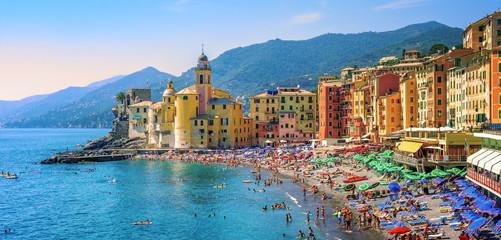 Mediterranean beach in Camogli, Liguria, Italy