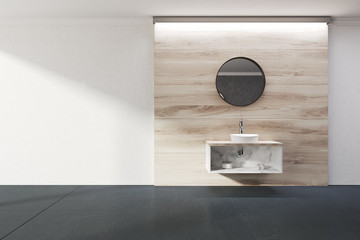 White and wooden bathroom, sink