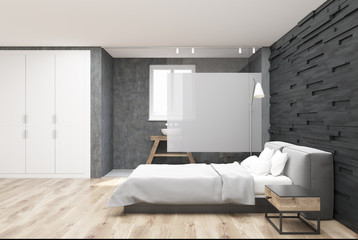 Gray wooden bedroom and bathroom