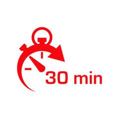 Icono plano cronometro con 30 min rojo en fondo blanco