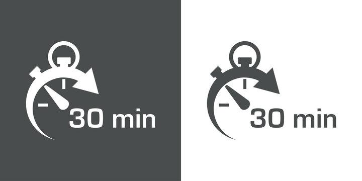 Icono plano cronometro con 30 min gris y blanco