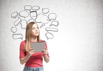 Blonde woman with a folder, speech bubbles