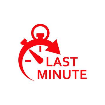 Icono plano cronometro con LAST MINUTE rojo en fondo blanco