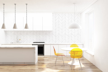 White wooden kitchen, yellow chairs