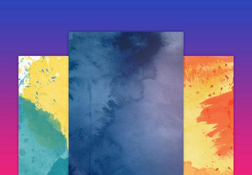 Ensemble de textures aquarelles poétiques
