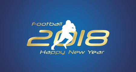 Football cross 2018 Happy New Year gold logo icon blue background