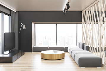 Gray and wooden living room, TV and table