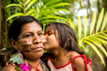 Native Brazilian family from Tupi Guarani Tribe, Brazil