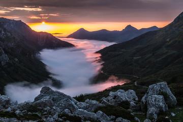 Foto op Canvas Scandinavië Summer sunset in the Saliencia Valley, Asturias