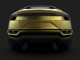 The newest sports all-wheel drive gold premium crossover in a black studio with a reflective floor. 3d rendering.